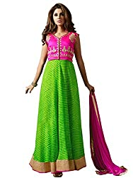 Beautiful Perot Green And Pink Anarkali Suit by Kmozi