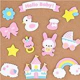 Congrats Hello Baby pink girl sponge sticker sack Kamio