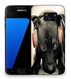 Snoogg Dog Listening To Red Beats Designer Protective Phone Back Case Cover For Samsung Galaxy S7