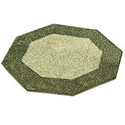 Frisse Two Tone Shag Accent Rugs, Evergreen, Octagon