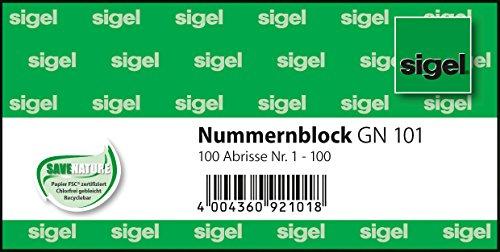 Sigel GN101 Nummernblock, nummeriert 1 - 100, 10,5 x 5 cm, 100 Abrisse
