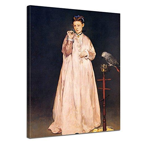 """Bilderdepot24 Leinwandbild Édouard Manet - Alte Meister """"Junge Dame mit Papagei"""" 50x70cm - fertig gerahmt, direkt vom Hersteller"""
