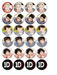 24 One Direction Cupcake Toppers