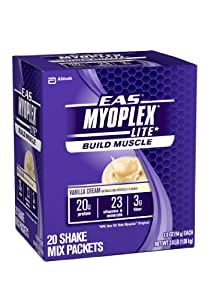EAS Myoplex Lite Nutrition Shake, Vanilla Cream, 1.9 oz. packets, Pack of 20
