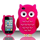 For iPhone 4 / 4S (AT&T/Verizon/Sprint/T-Mobile/Cricket) - OWL 3D Silicon Skin Case - Hot Pink SCOWL