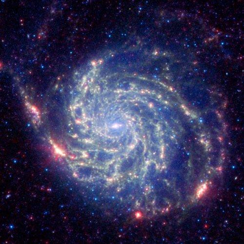 Galaxy Messier 101 Nasa Space Spitzer Telescope, 8 X 10 Color Photo