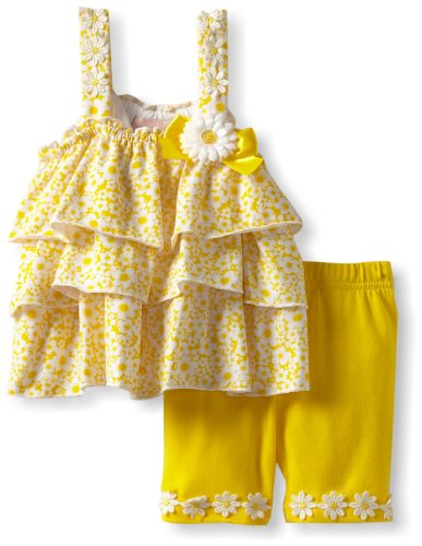 Little Lass Baby-Girls Infant 2 Piece Bike Short Set With Layers And Bow, Yellow, 12 Months