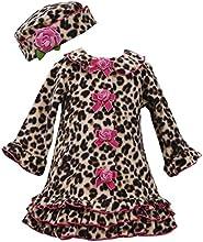 Bonnie Jean Girls Leopard Fleece Coat amp Hat Set Brown 2T - 4T