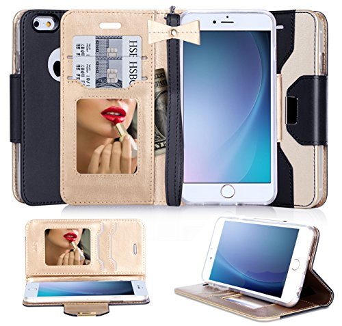 iPhone6s ケース iPhone6ケース ,Fyy® 良質PUレザーケース 横開き 手帳型 カバー 二つ折り ウォレット/財布型/カード収納 化粧鏡 ミラー 付き ちょう結び ストラップ スタンド機能 マグネット開閉 保護カバー ブラック