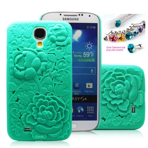 #>>  Cocoz®fukki Mint Green Peony Carved Palace Fashion Design Samsung Galaxy S4 I9500 Hard Case Cover Skin Retail Packing(pc) -H011
