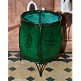 Leather Henna Candle Holder Round Tea-light Votive Moroccan