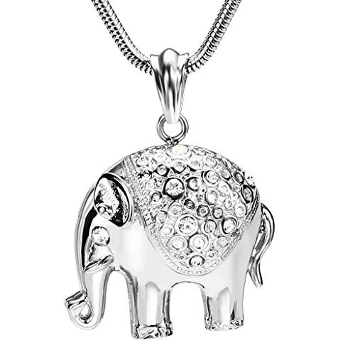 Mens-Stainless-Steel-Elephant-Shape-CZ-Silver-Fashion-Pendant-Necklace-43x4CM