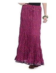 Soundarya Women Cotton Skirts -Wine -Free Size