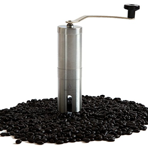 Manual Coffee Grinder for Travel | Portable Handheld Stainless Steel Grinder with Ceramic Conical Burr Mill for Consistent Precise Coffee Grinding for French Press, Aero Press, Pour Over Coffee