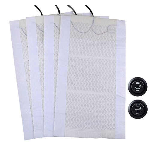 4pcs Universal 12V Cotton Fiber Winter Heated Seat Heater Heating Cover Pad Mat Warmer Kit w/ HI-OFF-LO Round Switches (Car Seat Covers Mk compare prices)