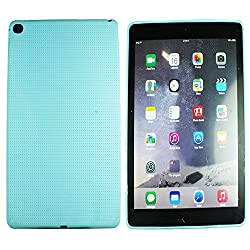 Heartly New Retro Dotted Design Hole Soft TPU Matte Bumper Back Case Cover For Apple iPad 6 Air 2 Tablet - Light Blue
