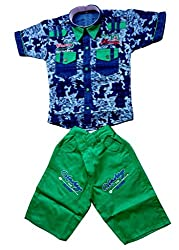 Boys Shirts and Shorts Combo Kids Wear Pack of two by Arshia Fashions - Cotton - 2 - 5 Years -Half Sleeves