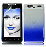 Magic Global Gadgets - New Blue 3D Waterdrop Raindrop Crystal Stylish Hybrid Design Hard Back Case Cover Skin For Motorola Razr XT910 Spyder Maxx With Screen Guard