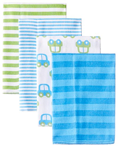 Gerber Baby-Boys Newborn 4 Pack Flannel Burpcloths Cars, Blue, One Size
