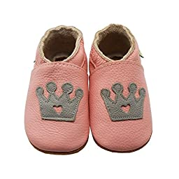 Sayoyo Baby Crown Soft Sole Leather Infant Toddler Prewalker Shoes (12-18 months, Pink)