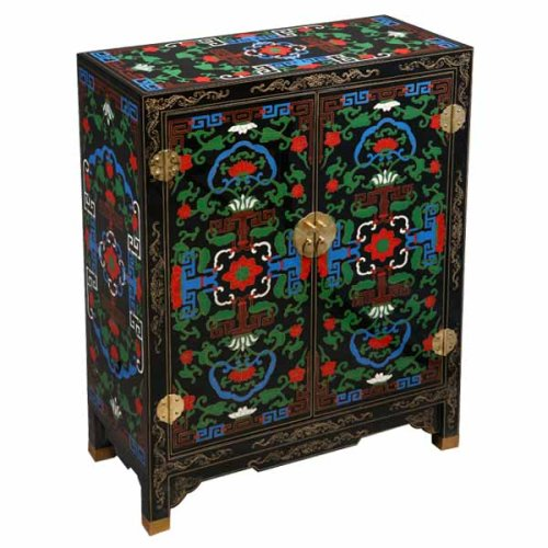 Cheap EXP Handmade Asian Furniture – 29″ Ethnic Tibetan Style Black Lacquer Storage Cabinet / End Table (B0015GYODW)