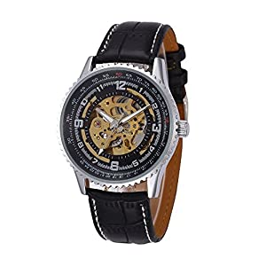GBI Men's Military PU Leather Band Automatic Mechanical Wrist Watches-Black