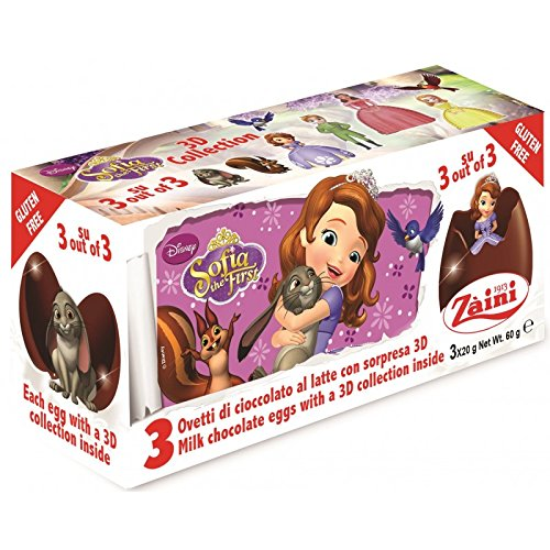 Disney SOFIA THE FIRST Zaini Milk Chocolate with Surprise Collection 3 Eggs