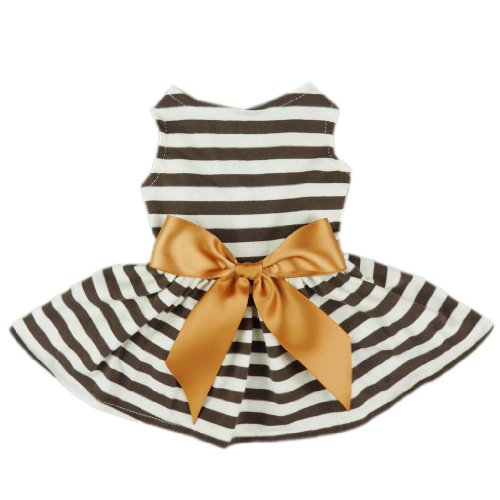 Fitwarm-Comfy-Cotton-Striped-Pet-Dress-Casual-Holiday-Dog-Shirts-Clothes-Apparel