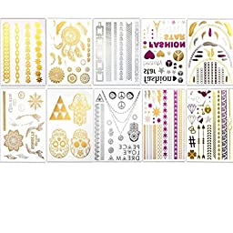 Fanme BohoTats Flash Metallic Temporary Tattoos - Set of 10 Sheets,150+ Intricate Designs Removable Waterproof Bling Bling stickers, High Gloss Shimmer Effect (silver pink gold )