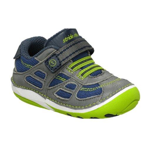 Stride Rite Srt Sm Conner Sneaker (Infant/Toddler),Navy/Lime,4 M Us Toddler front-737965