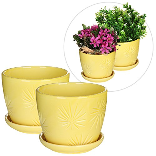 Set of 2 Yellow Sunburst Design Ceramic Flower Planter Pots / Decorative Plant Container with Saucer
