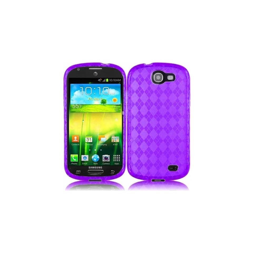 IMAGITOUCH(TM) Bundle Accessory for AT&T Samsung Galaxy Express I437   Purple Agryle TPU Soft Case Proctor Cover + Stylus Pen + Anti Glare Clear LCD Screen Protector with Screen Wiper Cell Phones & Accessories