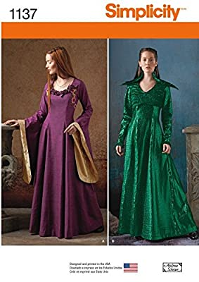 Simplicity Ladies Sewing Pattern 1137 Games of Thrones Style Dress & Jacket Costumes