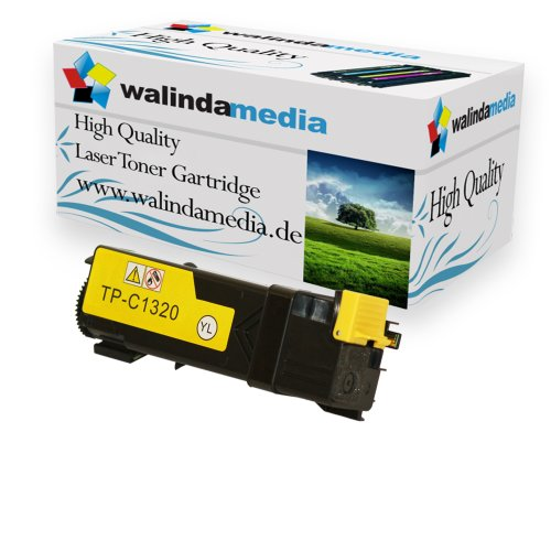 1x Toner Ersatz für Dell-1320 XL Original Walindamedia Toner-Kartusche Yellow, 2000 Seiten Druckleistung Ersatz für PN124, ( Dell-1320xl, Dell-1320xl, Dell-1320 xl), Gelb