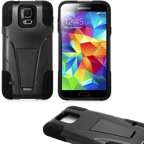 Mylife (Tm) Ultra Dark Black - Neo Hybrid Series (Built In Kickstand) 2 Piece + 2 Layer Case For New Galaxy S5 (5G) Smartphone By Samsung (External Hard Fit Armor With Built In Kick Stand + Internal Soft Silicone Rubberized Flex Gel Bumper Guard)