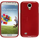 Coque en Silicone pour Samsung Galaxy S4 - brushed rouge - Cover PhoneNatic Cubierta