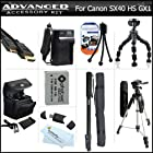 Complete Accessory Kit For Canon PowerShot SX50 HS, SX50HS, SX40 HS SX40HS G1 X G1X, G15, G16 Camera Includes Extended Replacement (1200Mah) NB-10L Battery + AC/DC Charger + Case + Mini HDMI Cable + 57 Tripod + 67 Monopod + 7 Flexible Tripod + More