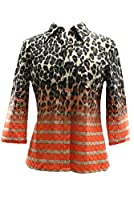 Tracy Reese 3/4 Sleeve Shirt in Cheetah Stripe