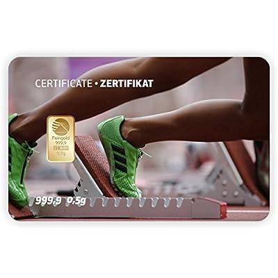 Goldbarren Geschenkkarte 0,5 g 0,5g Gramm Feingold 999.9 Nadir Gold Sport Sprint