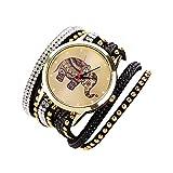 Femmes Elephant Rivet Bracelet Quartz Montre-bracelet Tresse Enroulement Pellicule Noir