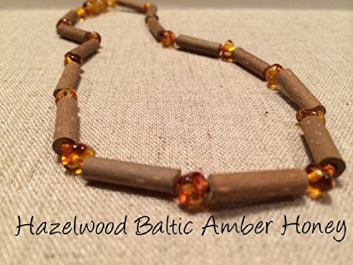 Hazelwood Necklace 12.5 to 13 Inches Baltic Amber Honey for babies baby infant toddler bub for Gut issues; Eczema, Colic, Reflux, GERD, heartburn, and ulcers. 100% Satisfaction Guaranteed. 33-34 cm