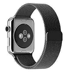 Apple Watch Band, with Unique Magnet Lock, JETech 42mm Milanese Loop Stainless Steel Bracelet Strap Bands for Apple Watch 42mm All Models No Buckle Needed - Black