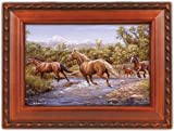 Horses At The Crossing Woodgrain Music Box Plays Rocky Mountain High