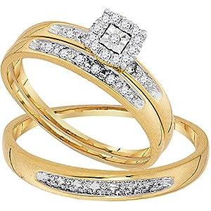 0.08 Carat (ctw) 10K Yellow Gold Round White Diamond Men & Women Cluster Engagement Ring Trio Bridal Set from DazzlingRock