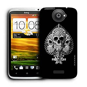 Snoogg Triple Skull Designer Protective Back Case Cover For HTC ONE X