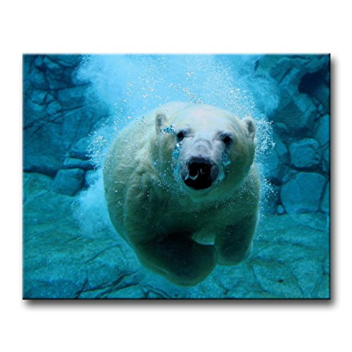 Blue Wall Art Painting Diving Polar Bear Pictures Prints On Canvas Animal The Picture Decor Oil For Home Modern Decoration Print