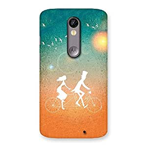 Delighted Cycle Couple Dream Multicolor Back Case Cover for Moto X Force