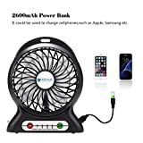 Portable Fan, Dizaul® mini usb rechargeable fan with 2600mAh Power Bank and Flashlight, for Traveling,Fishing,Camping,Hiking,Backpacking,BBQ,Baby Stroller,Picnic,Biking,Boating (Black)