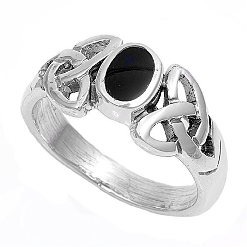 Black Onyx Celtic Ring - Size 6