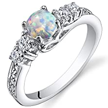 buy Created Opal Ring Sterling Silver Round Cabochon 0.50 Carats Size 8